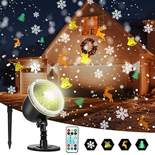 Zeonetak LED Projektor Weihnachten Innen Aussen, IP65 Wasserdicht, Fernbedienung Projektor Lampe für Christmas Home Party Garten Wanddekorationen, Weihnachtsbaum, Schneeflocke, Kleine Glocke und Elch