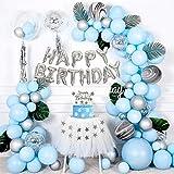 Kit Guirnalda Globos Azules, Kit Arco Globos con Globos Azules & Plateados, Paquete Globos Látex Negro Ágata para Niños, Niñas, Fiesta de Cumpleaños, Baby Shower, Aniversario, Decoraciones de Fondo