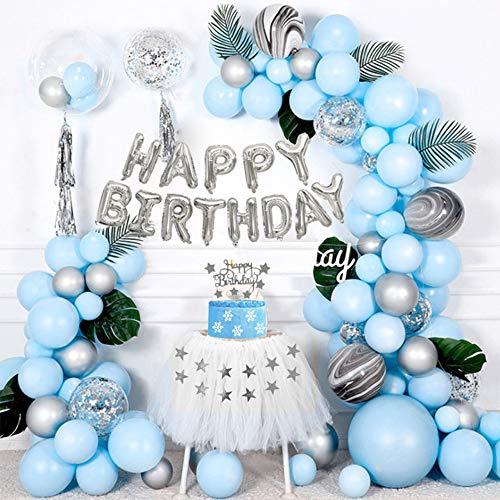 Kit Guirlande Ballon Bleu, Kit d'Arche Ballon avec Ballons Bleus & Argent, Pack Ballons Latex Noir Agate pour Garçons Filles Fête d'Anniversaire Bébé Douche Anniversaire Décorations Dtoile Fond