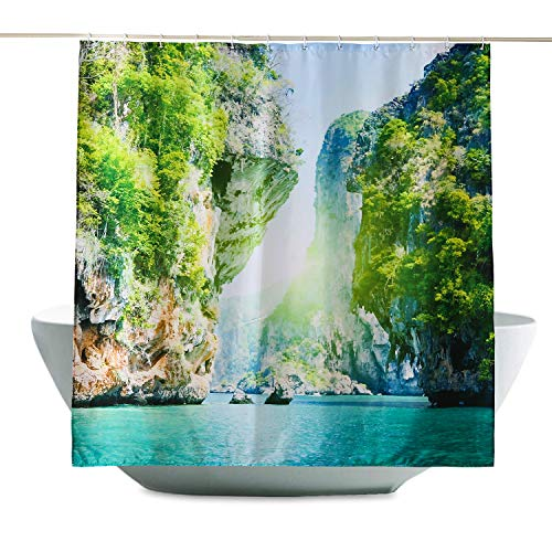 ENCOFT Duschvorhang 180 x 200 cm aus 100% Polyester mit 12 Duschvorhangringe für Badezimmer Wasserabweisend und Anti-Schimmel