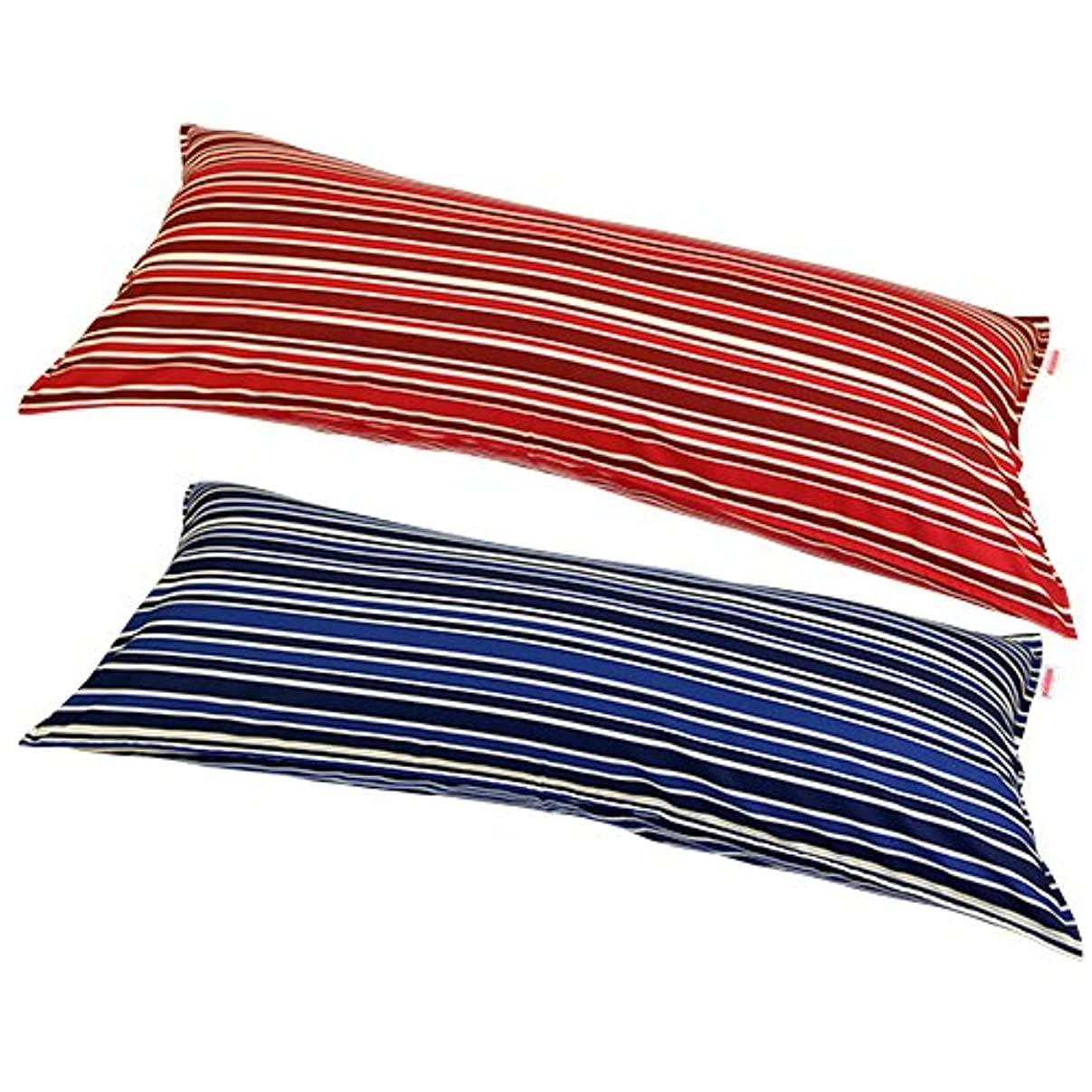 こっそり七時半近代化枕カバー 45×110cmの枕用 トリノストライプ ステッチ仕上げ 安心の日本製 ブルー