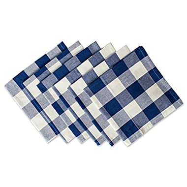 DII Cotton Buffalo Check Oversized Basic Cloth Napkin for Everyday Place Settings, Farmhouse Décor, Family Dinners, BBQ's, and Holidays (20x20, Set of 6) Navy & Cream