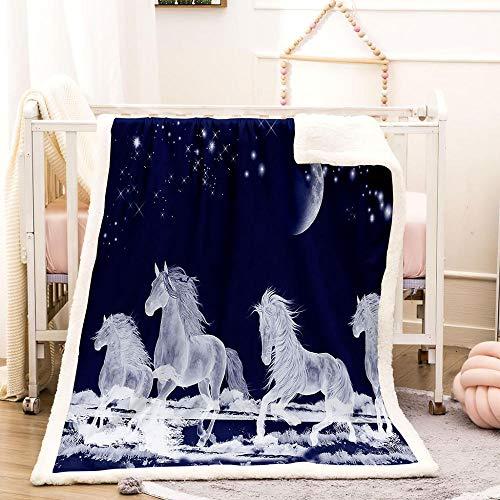 BEDSERG Tirar Las Mantas Gruesas para Adultos niños Unicornio Azul Claro de Luna Manta Polar Super Suave Colcha Sherpa Manta para la Cama y sofá 150x200cm