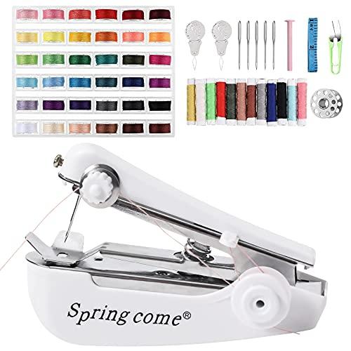 Macchina da cucire a mano, mini macchina da cucire, portatile, con 60 accessori per macchina da cucire, kit da cucito in ferro per principianti e adulti