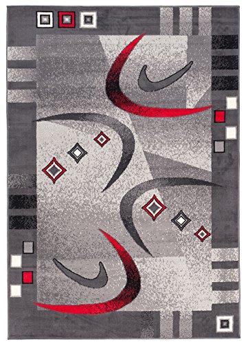 """Tapis de Chambre Salon - Gris Rouge - Tapis Classique dans un Cadre Contemporaine - Ras et Résistant - a Poil Court - avec des Motifs Abstrait - E:E Facile a Nettoyer """" MONACO """" 60 x 100 cm Petit"""