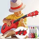 Sopran Ukulele - 21 Zoll, 4 Nylon Saiten, Korpus aus Lindenholz, inkl. Plektren, Farbwahl - Sopranukulele, Ukele, Hawaii Gitarre für Anfänger, Kinder & Erwachsene (Rot)