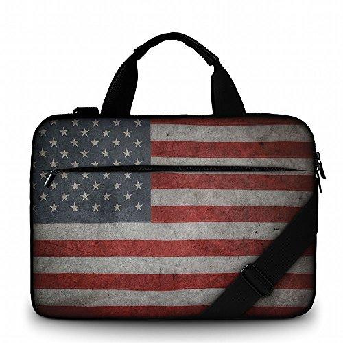 Silent Monsters Laptop Tasche Schutzhülle 17,3 Zoll (43,9 cm) aus Canvas mit Zubehörfach, Design: USA