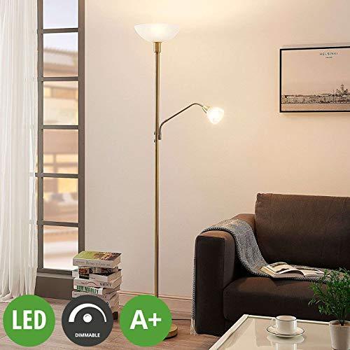 Lampenwelt LED Stehlampe | Deckenfluter inkl. dimmbarer LED Leuchtmittel A+ | Standleuchte Messing matt/Gold | Stehleuchte Wohnzimmer | warmweiß (3.000K) | Leselampe