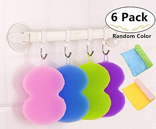 4 Packs Antibacterial Silicone Dishwashing Scrubbers and 2 Cleaning Cloth for Bonus, Carnatory Dish Towel Scrubber, Fruit and Vegetable Washer Heat Insulation Padsfor Kitchen Wash Pot Pan Dish Bowl