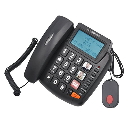 NORDMENDE Easyhome300 Telefono Fisso, Vivavoce, Tasti grandi, Avviso luminoso, Alto volume, Tasto SOS, Telecomando SOS wireless, Nero [Italia]