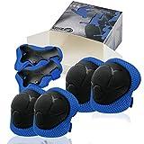CRZKOプロテクター キッズ。膝パッド、肘パッド、腕パッドの6セット。腕サポーター、調節可能なストラップ付き:ローラースケートやスケートボードなどに適しています。