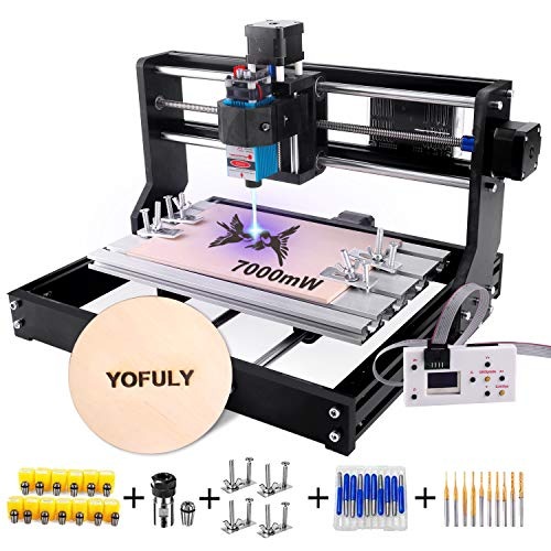 3018 Pro CNC Router Kit with 7W Module, Yofuly GRBL Control 3 Axis DIY CNC Machine, Wood Acrylic PCB Carving...