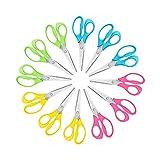 KUONIIY Tijeras para niños zurdos 5 pulgadas Blunt, colores surtidos, 12 paquetes