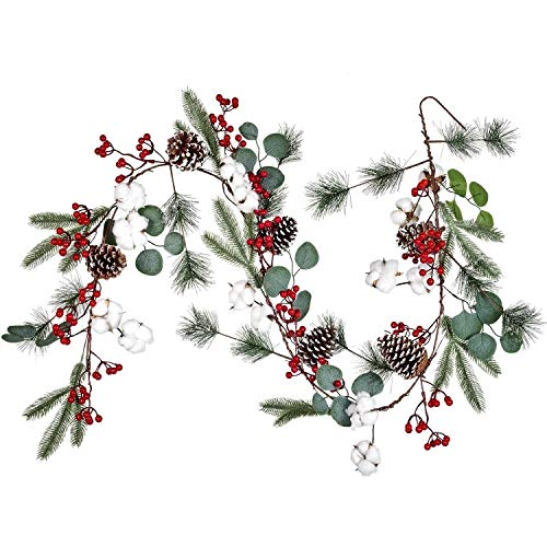 Lvydec Christmas Pine Garland Decoration, 6.7ft Eucalyptus Christmas Garland with Red Berry Pine Cone Cotton Boll and Eucalyptus Leaves for Holiday Mantel Fireplace Table Centerpiece
