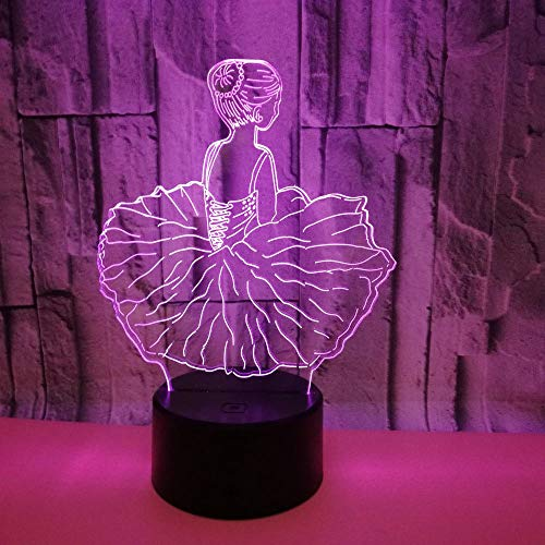 Colorido Ballet Girl 3D usb LED Luz de noche Decoración de habitación Patrón bonito Regalo de Navidad para niñas Kid Lámpara de sueño de escritorio USB