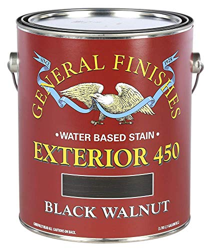 General Finishes Exterior 450 Water Based Wood Stain, 1 Gallon, Black Walnut