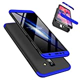 Laixin 3 in 1 Handyhülle für Samsung Galaxy J4 Plus Hülle + Panzerglas, Ultra Dünn PC Plastik Anti-Kratzen Schutzhülle Schutz Hülle Cover mit Bildschirmschutzfolie, Blau/Schwarz