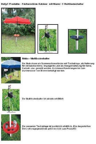 STRANDSCHIRME - SONNENSCHIRM - HALTER - Holly ® Produkte STABIELO ® - MADE in GERMANY - WURMI - MULTIBODENHALTER aus ALU mit Glasfaserspitze - ROSTFREI - für LEHM-RASEN-STRAND-KIES-SAND BÖDEN zur universellen Befestigung für Schirmstöcke bis ca. 33 mm - holly-sunshade ®