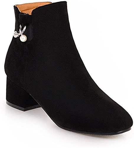 Sandalette-DEDE Confort de la Moda, botas ásperas, botas Bajas, botas Bajas, botas Grandes, negro, Cuarenta y Cuatro