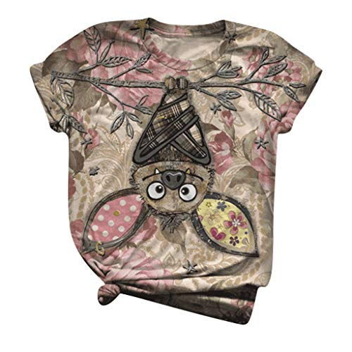 Dasongff Shirt Damen, Kurzarm Lustig Cartoon Esel Bedrucktes T-Shirts Animal Print O Ausschnitt Grafik Casual Tops Tee Sommer Locker Top Blumen Tshirt 3D Druck Tunika Bluse Oberteile Mädchen
