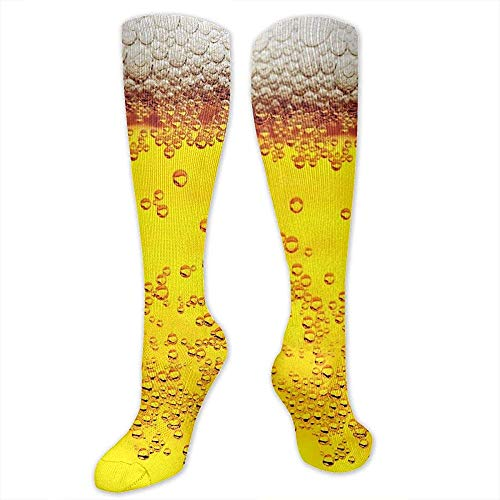 Ginger-Ale Calcetines De Compresión Impresos En 3D Para Hombres, Mujeres - Fondo De Burbujas De Cerveza - Mejores Calcetines Largos Deportivos Hasta La Rodilla