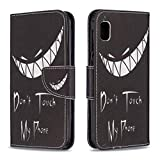 Aismile Compatible with Samsung Galaxy A10e 2019 Flip Case Leather PU Phone Case with 2 Credit Card Holder and 1 Cash or Ticket Slot with White Teeth Smirk Pattern Dont Touch My Phone