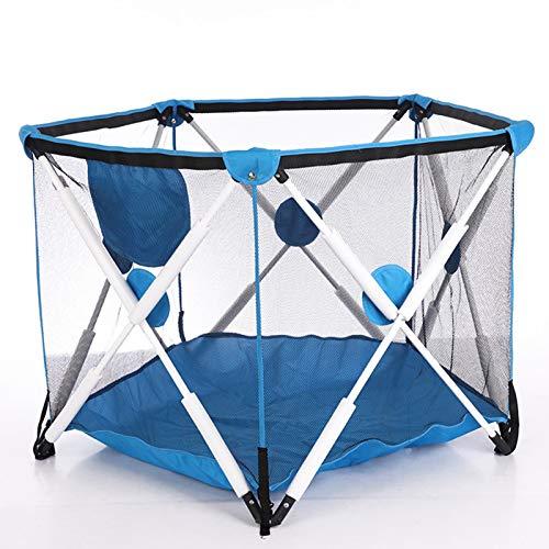 AELEGASN Parque Infantil De 6 Paneles, Portátil, Lavable, con Malla Transpirable para Bebés, Recién Nacidos, Interiores Y Exteriores,Dark Blue