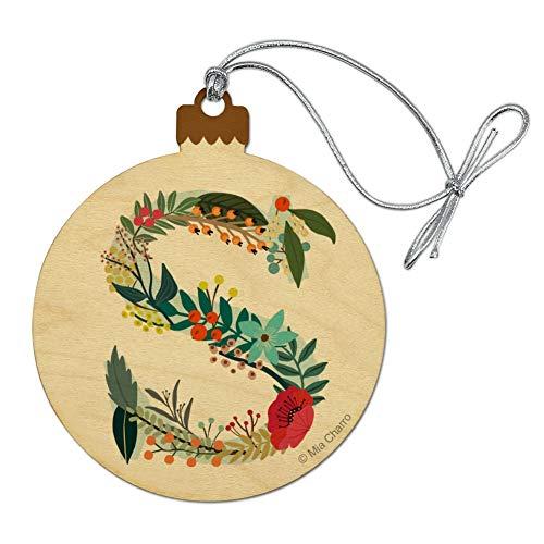 GRAPHICS & MORE Letra S Floral Monograma Inicial Madera Árbol de Navidad Ornamento de vacaciones
