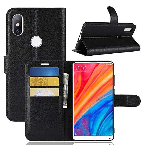 BestCatgift Mi Mix 2S Wallet Funda, PU Leather Flip Funda Wallet Phone Folio Cover [Litchi Grain] para Xiaomi Mi Mix 2S - Black