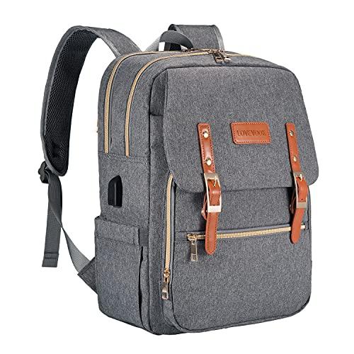 LOVEVOOK Wickeltasche Rucksack grau, wickelrucksack mit USB-Ladeanschluss baby rucksack mit Babyflaschen-Isolationstasche Multifunktional Große Kapazität Rucksack für unterwegs