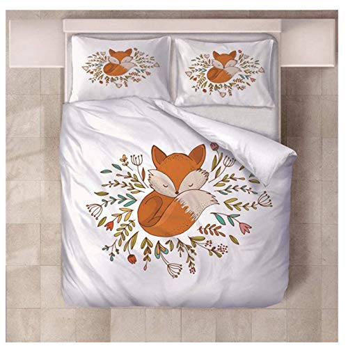 Daoxizhou Sleeping Fox Duvet Cover Sets Set of Microfiber Bedding Set, 100% Cotton Fabric, Soft and Anti-Allergic, 1 Duvet Cover + 2 Pillowcases,Single(180 * 210cm)