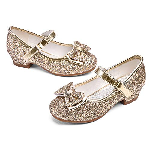 STELLE Girls Mary Jane Glitter Shoes Low Heel Princess Flower Wedding Party Dress Pump Shoes for Kids Toddler(ST08-Gold, 13ML)