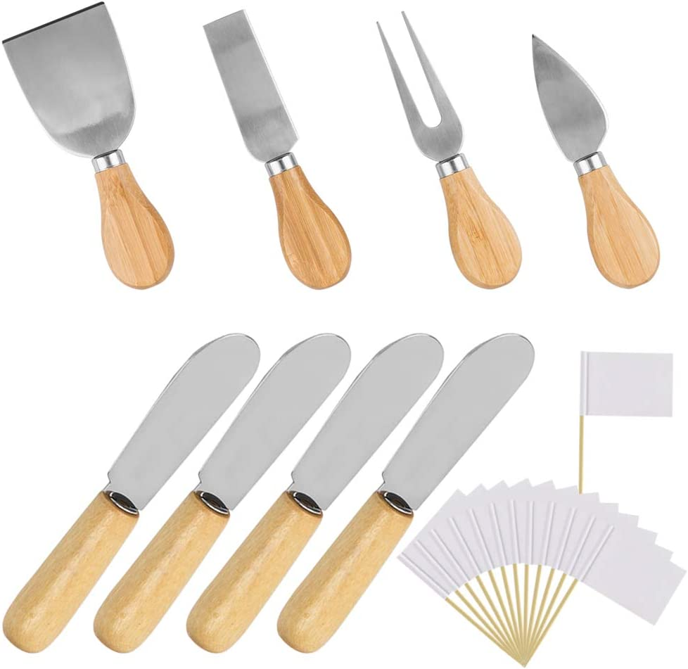 Wood Handle Cheese Knives Spreaders Blank with Seasonal Wrap Introduction Toothpick Set excellence Fla