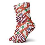 yting Calcetines casuales de la bandera de Líbano con calcetines de tobillo de la bandera de Estados Unidos Calcetines de compresión de vestido corto para mujeres Hombres