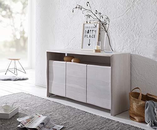 DELIFE Kommode Live-Edge 147 cm Akazie White Washed 3 Türen 1 Fach Massiv Sideboard