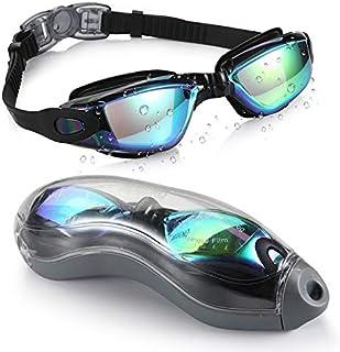Swimming Goggles, Mirrored Swim Goggles No Leaking Anti Fog UV Protection Triathlon Swim Goggles with Free Protection Case...