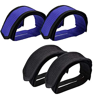 Qeedy Bike Pedal Straps Pedal 2 Pieces Universal Bicycle Feet Strap Pedal Straps Toe Clips Straps Tape for Fixed Gear Bike (Blue & Black)