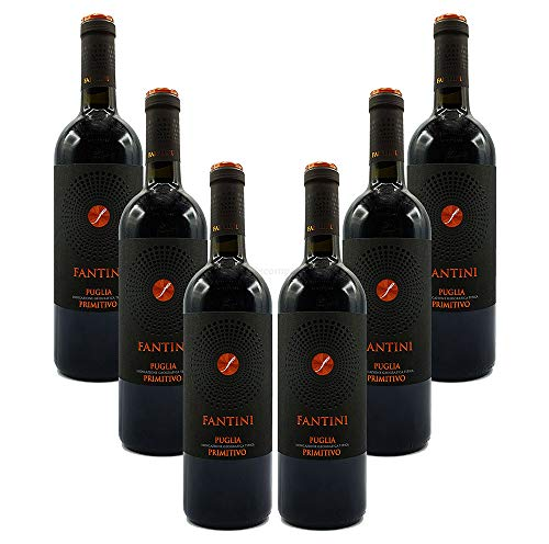 Farnese Fantini Puglia Primitivo 6er Set Rotwein aus Italien 6x 0,75L (14% Vol)- [Enthält Sulfite]