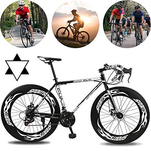AURALLL 27-Vitesse complète Vélo Black Lightning Adulte Femme Homme Unisexe Vélo de Route de Course, vélos à Roues Double Disque de Frein,Noir