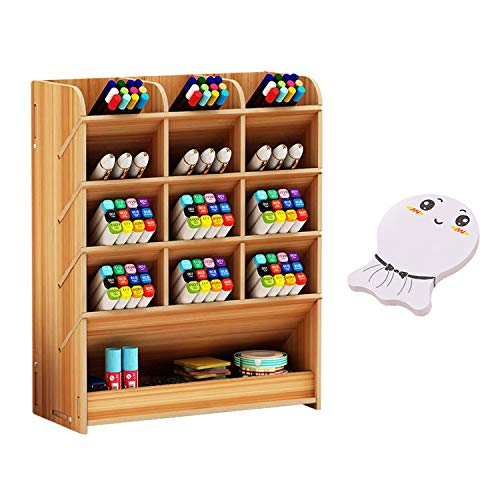 Wooden Desk Organizer Multi-Functional Pen Pencil Crayon Holder Storage Rack Box con Memo Pad per Office School Home Supplies Yellow