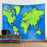 KHKJ Tablero de Madera de Estilo nórdico, Tapiz de Mapa del Mundo, Toalla de Playa de poliéster Colgante, Manta Fina, Bufanda de Yoga, Esterilla A6 95x73cm