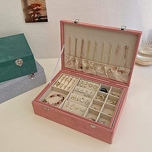 Caja de joyería esponjosa, caja de almacenamiento doble, pendiente pendiente collar pendiente caja de almacenamiento, regalos de boda para niñas y mujeres de la boda