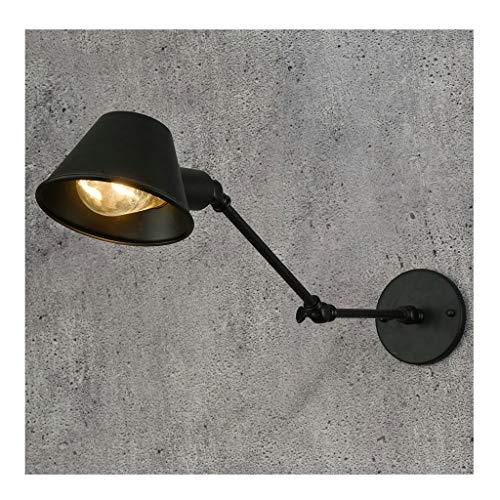 A-ZHP W. Lámpara de Pared Retro Personalidad Creativa Bar Café Lámpara Plegable telescópica Estilo Americano Loft Sala de Estar Dormitorio Estudio Luz de Noche, Negro [Clase de energía A ++]
