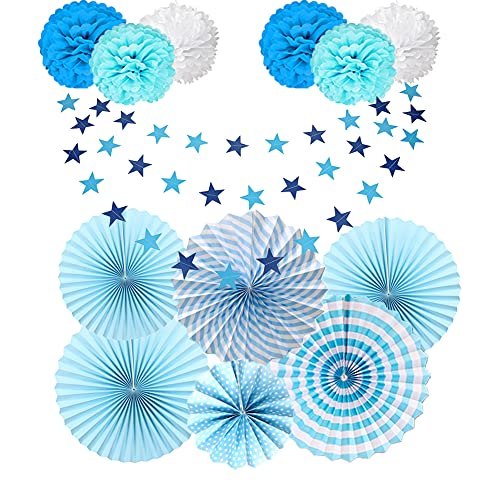 Pompones de Papel para Decoración de Fiestas Azules, Pom Poms Bola de la Flor, Abanicos de Papel de Flores, con 4m Guirnaldas de Papel de Estrellas, para Bodas, Cumpleaños, Carnaval, Blanco - Azul