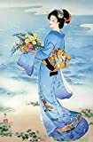 Puzzles for Adults,Teens 1000 Pieces Light Blue Kimono Beauty Paintings by Haruyo-Morita Japanese Wooden Jigsaw Puzzles