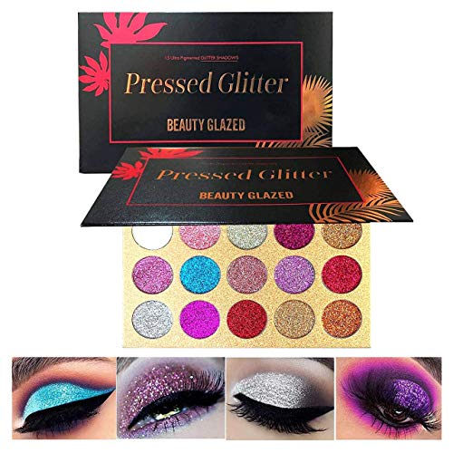 Pressed Glitter Eyeshadow Palette High Pigmented Glitters Kit Eye Shadow Sparkle Pro Makeup Palettes for Eyes Shimmer and Gorgeous 15 Colors Waterproof