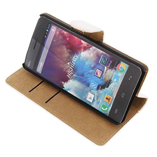 foto-kontor Tasche für Wiko Highway 4G Highway Book Style weiß Kreditkarte Schutz Hülle Buch