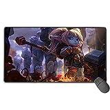 Alfombrilla de ratón para juegos extendida grande para League Legends Poppy, tamaño extendido, diseño personalizado de 40 cm x 75 cm