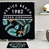 KISSENSU Cortinas con Ganchos,Rotulación Venecia Playa Ola Océano Vintage Hawaiano Caligráfico,Cortina de Ducha Alfombra de baño Bañera Accesorios Baño Moderno