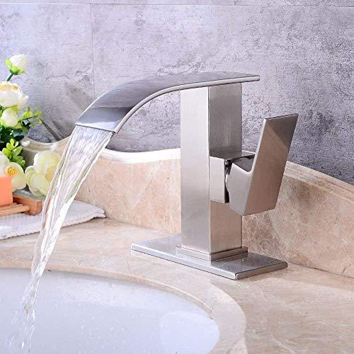 LIZANAN Sink Cuarto de baño del lavabo del fregadero grifo mezclador grifo cepillado Cascada agua caliente y fría de cerámica orificio de monomando de lavabo del fregadero grifo baño grifo del bar Gri